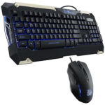 Kit Teclado Y Mouse Thermaltake Commander Gaming Gear Combo Alambrico USB Gamer Retroiluminado Led Azul KB-CMC-PLBLSP-01