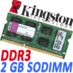 Memoria Ram DDR3 Sodimm Kingston 1333 MHz 2 Gb PC3-10600 (KVR13S9S6/2)