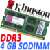 Memoria Ram DDR3 Sodimm Kingston 1333MHz 4GB PC3-10600 KVR13S9S8/4