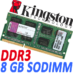 Memoria Ram DDR3 Sodimm Kingston 1333MHz 8GB PC3-10600 KVR1333D3S9/8G