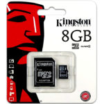 Memoria MicroSD 8GB Kingston SDHC Clase 4 Con Adaptador SDC4/8GB